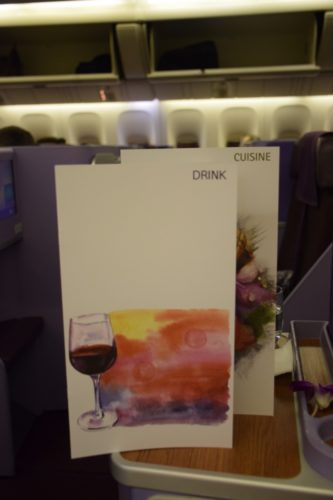 Thai Airways 777 Business Class food beverage menu