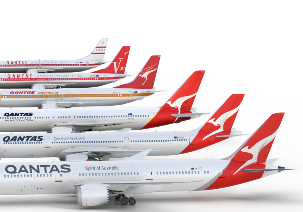 Line up of all Qantas logos and liveries throughout the ages. Source: Qantas