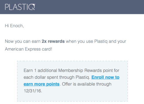 Plastiq sent out email promoting 2x earnings with American Express cards