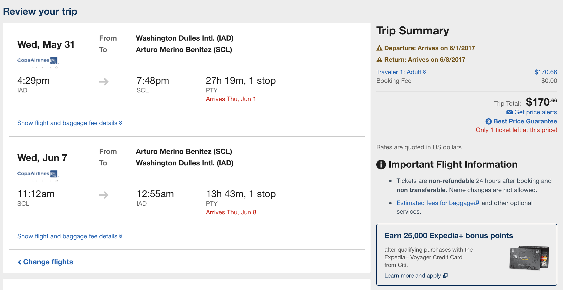 Fly from Washington Dulles (IAD) to Satiago (SCL) for $170 round-trip!