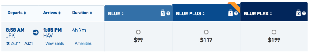 JetBlue has flighs from New York to Havana for $99 one-way in early December
