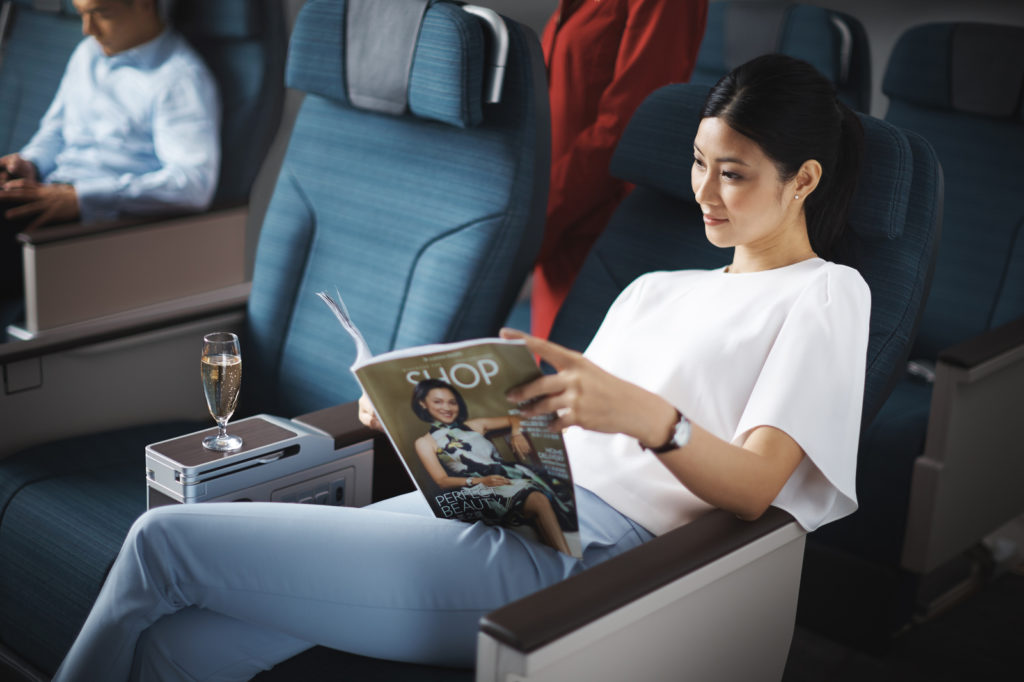 Cathay Pacific Premium Economy onboard the A350, which will operate the Hong Kong - London-Gatwick and Hong Kong - Manchester routes. Source: Cathay Pacific