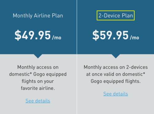 Gogo is rolling out a new plan so you can be connected to the in-flight Wi-Fi on two devices at a time.