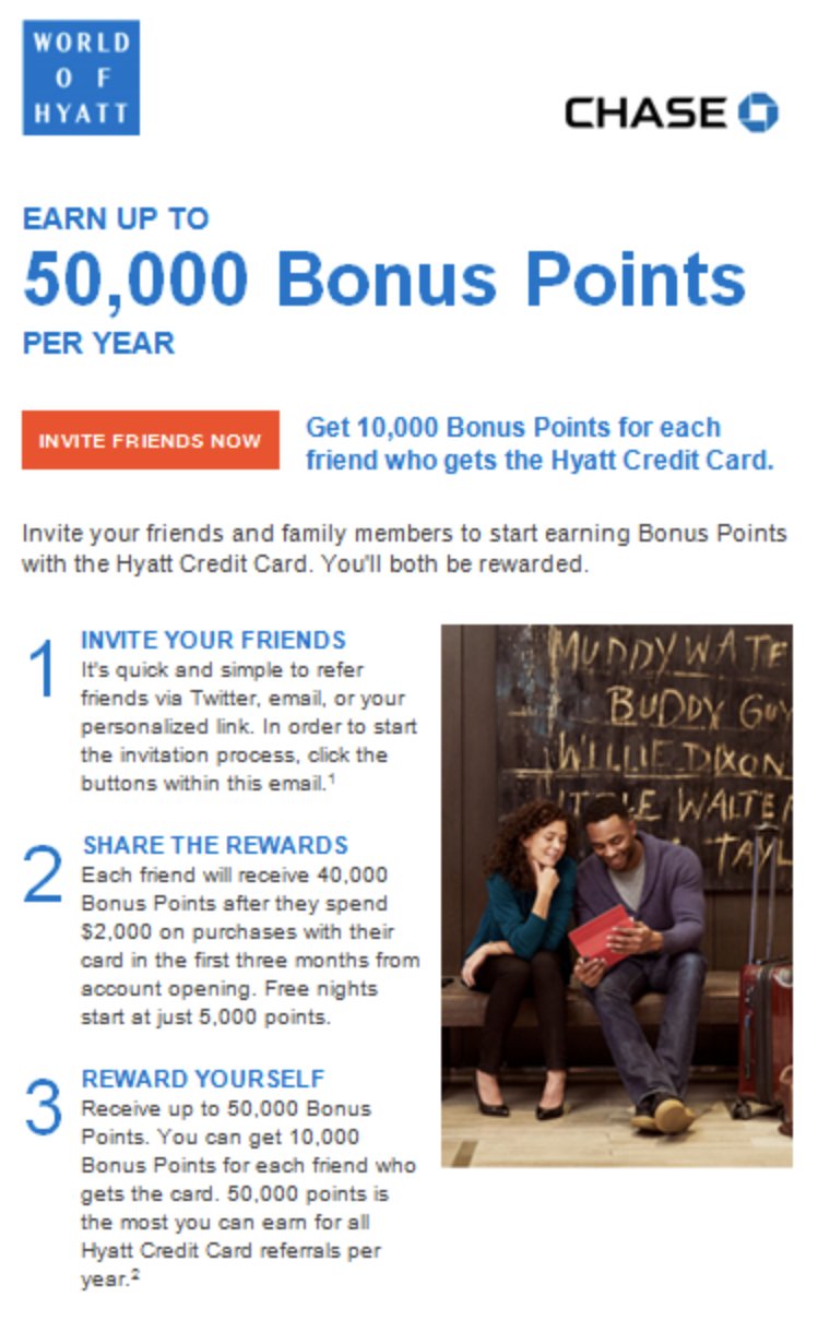 hyatt offering 10k bonus points per new cardmember referral up to 50k point me to the plane