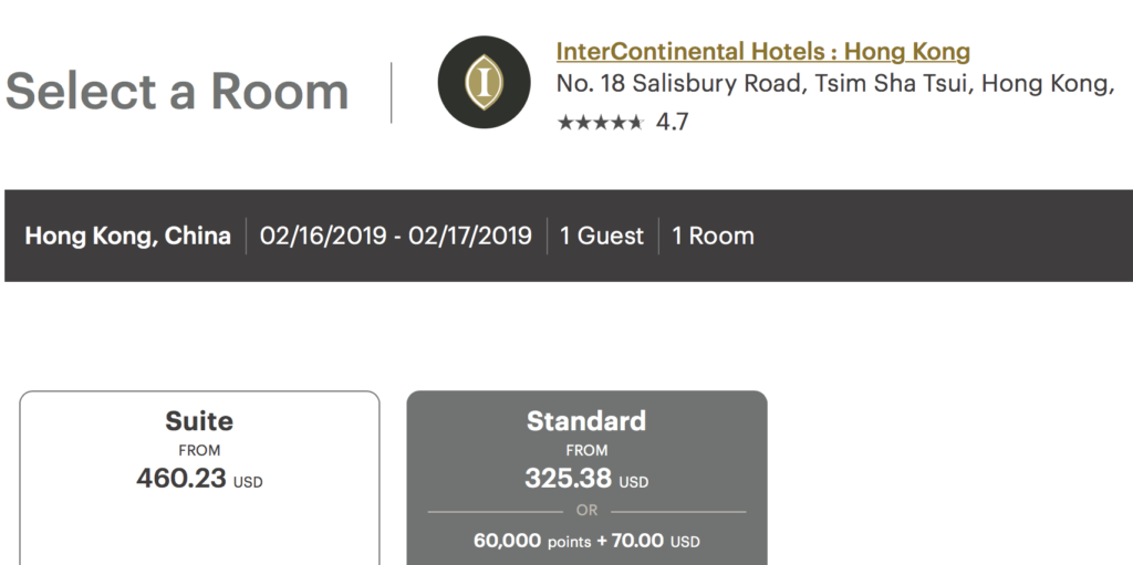You can still book a night at the InterContinental Hong Kong for the night of February 16, 2018 at a reasonable price.