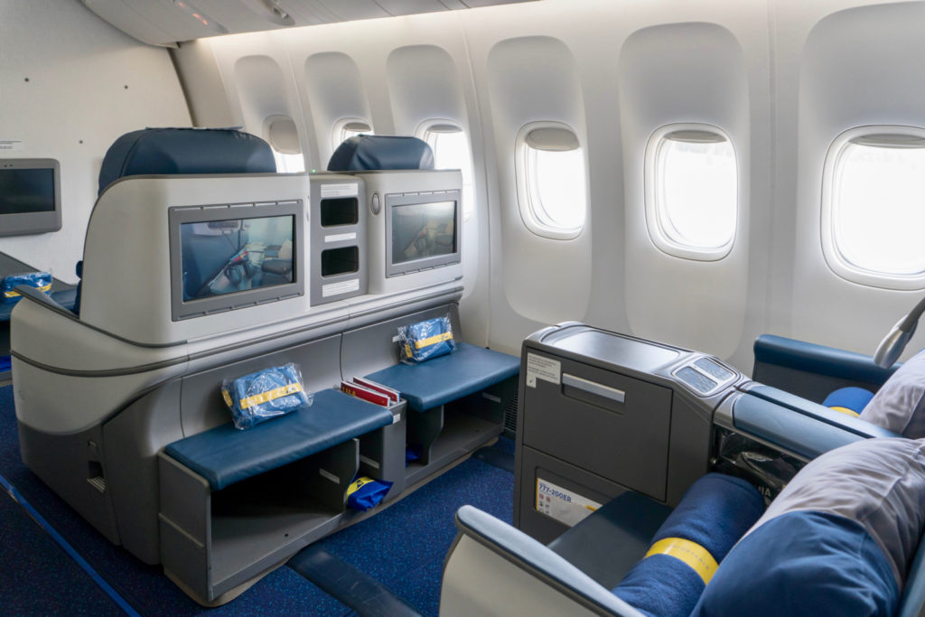 Ukraine International Airlines 777-200ER Business Class Seat. Photo by the author.