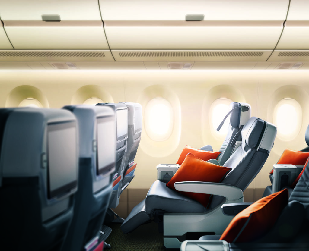 Singapore Airlines Premium Economy Class onboard the A350-900ULR that will fly non-stop Newark-Singapore. Source: SIA