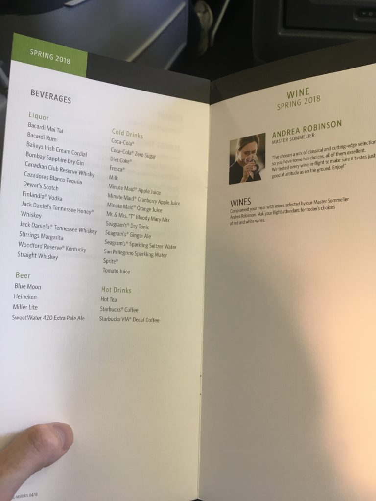 Delta One business class Hawaii beverage and wine menu