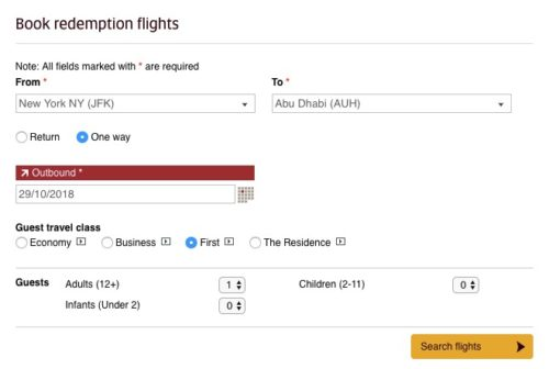 Finding Etihad open award seats points and miles