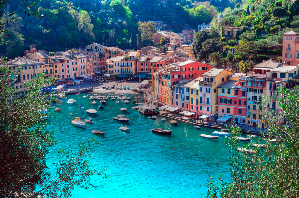 Portofino's colorful town center is an easy boat ride from the famous Cinque Terre on Italy's Ligurian coast.