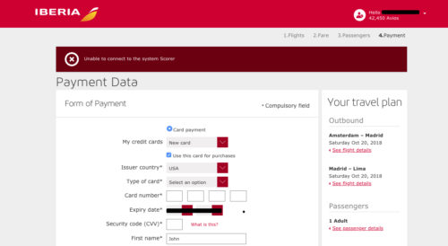 Booking Iberia awards American Express points