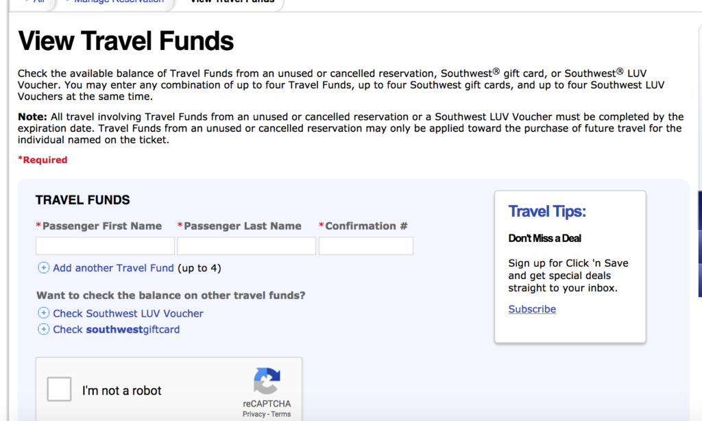 Southwest View Travel Funds