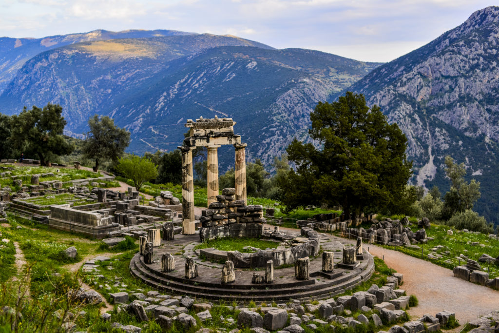 Delphi lies in the rugged mountains of Greece, and is well known for its Oracle, who spoke for the god Apollo.