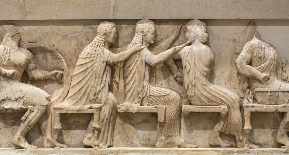 Greek sculpture can be found on temple friezes, painted urns, and more.