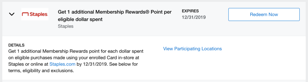 Amex Offer for an extra Membership Rewards point per dollar spent at Staples.com