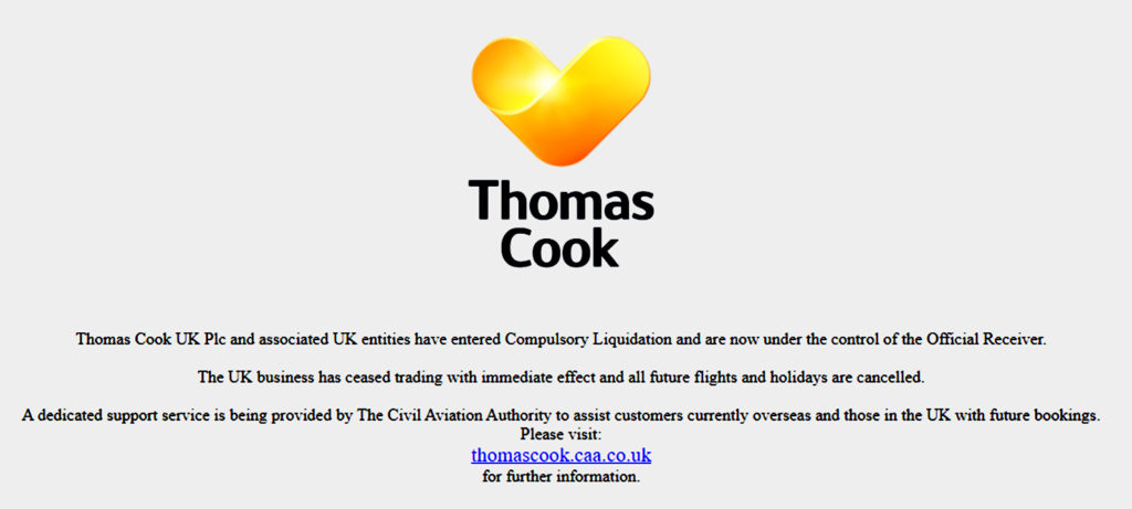 Thomas Cook Airlines Collapses Website