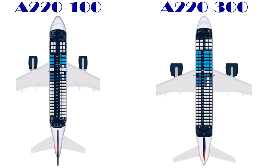 Comparison of Delta A220 Aircraft