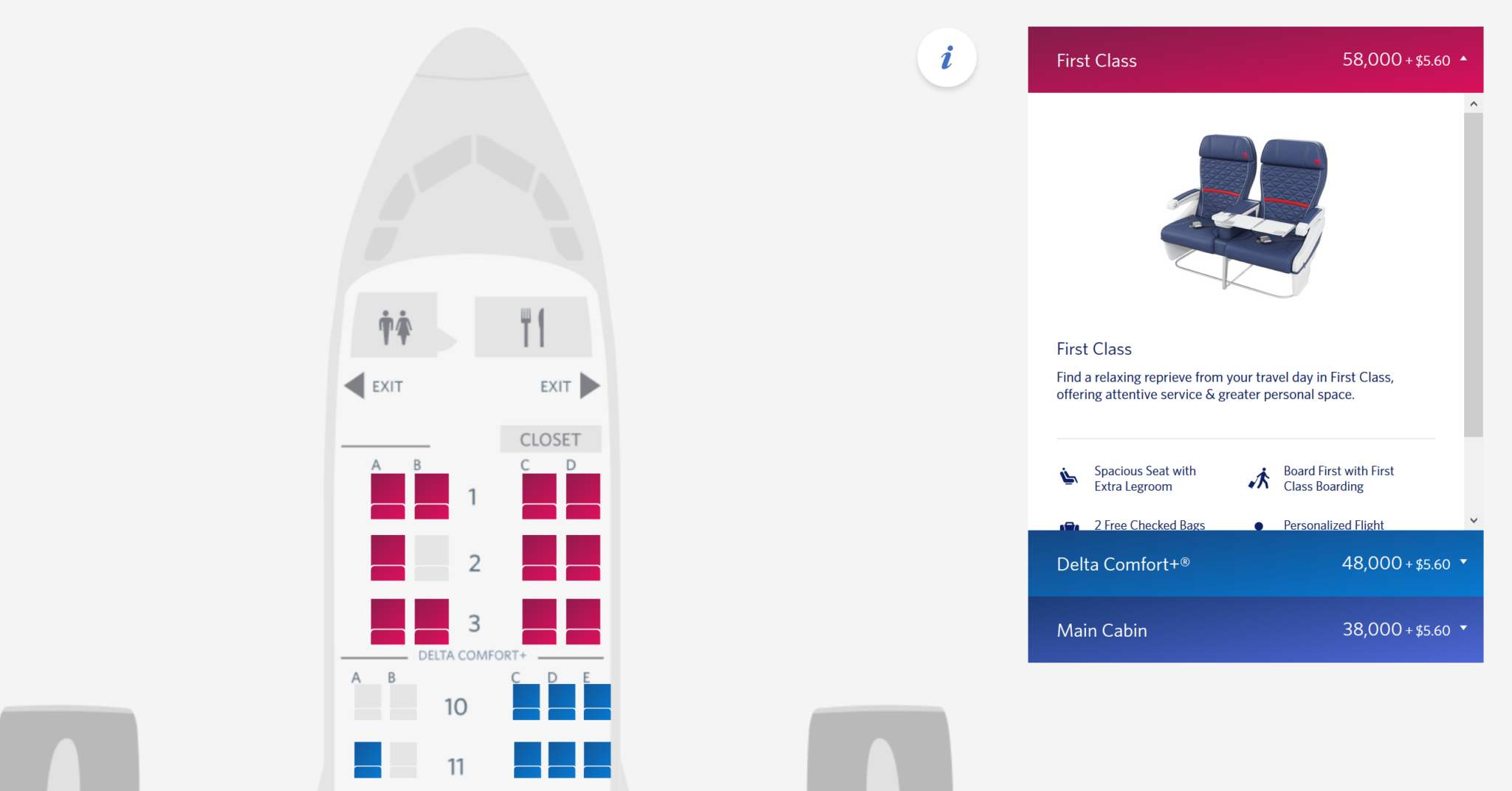 Where are the Delta SkyMiles First Class deals