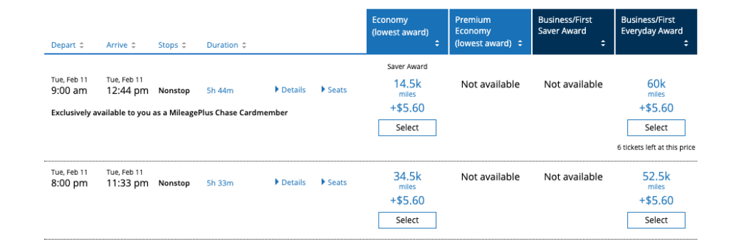 United EWR to SLC February 2020