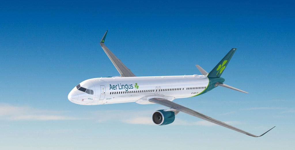 Aer Lingus operates a narrowbody A321LR equipped with fully-flat seats in business on key transatlantic routes.