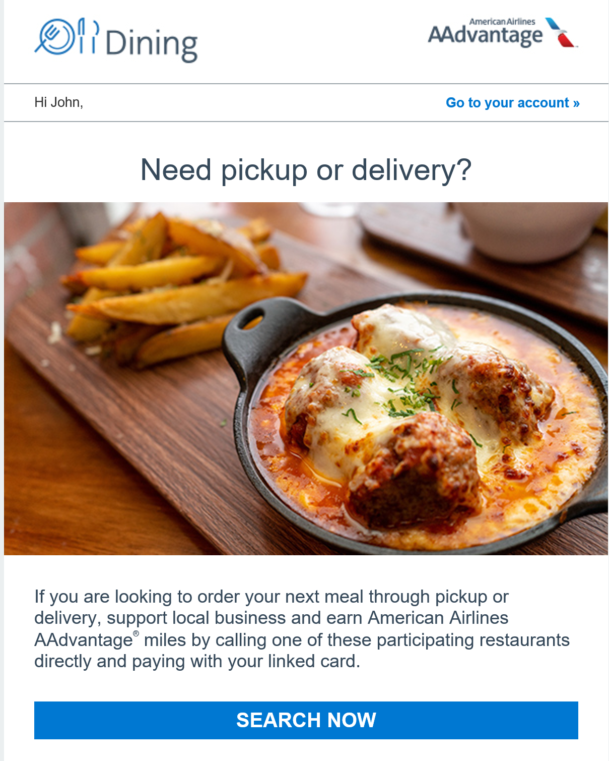 earn miles with takeout
