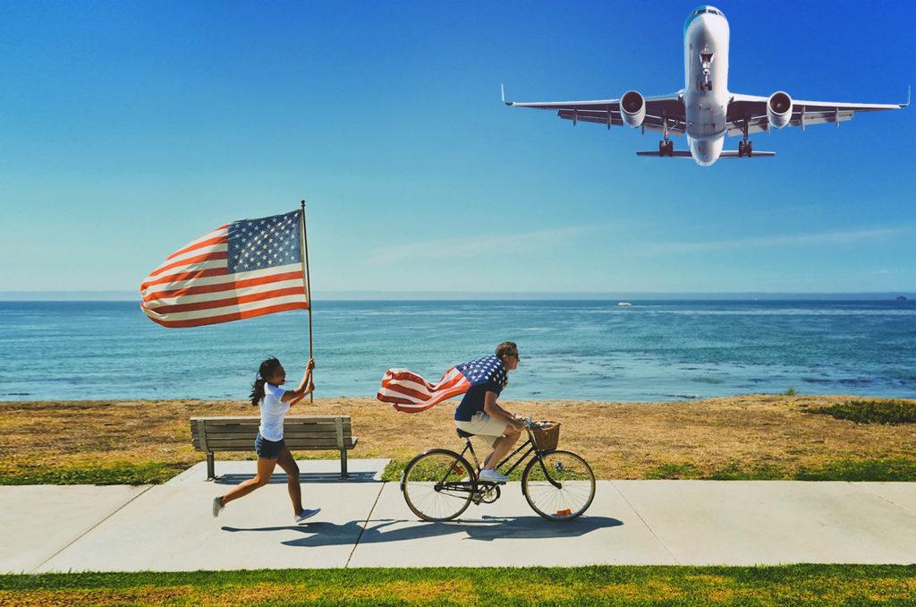 American Flag Airplane Approach California