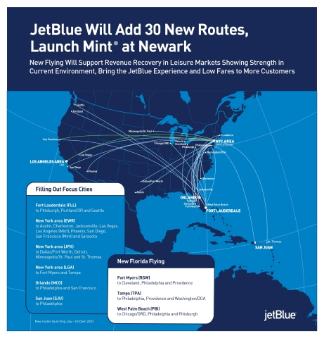 JetBlue Adding 30 Routes Mint Newark
