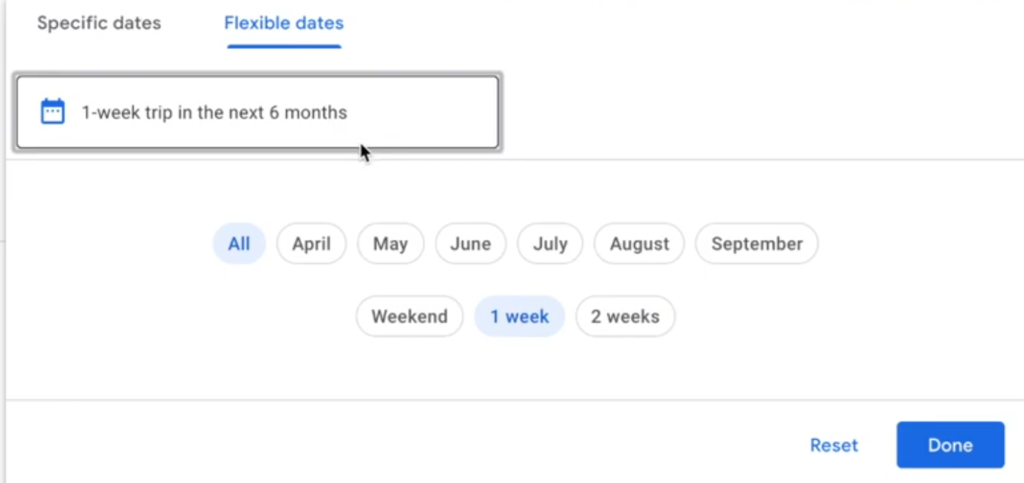 Google Flights How to set Set Flexible Dates for Travel