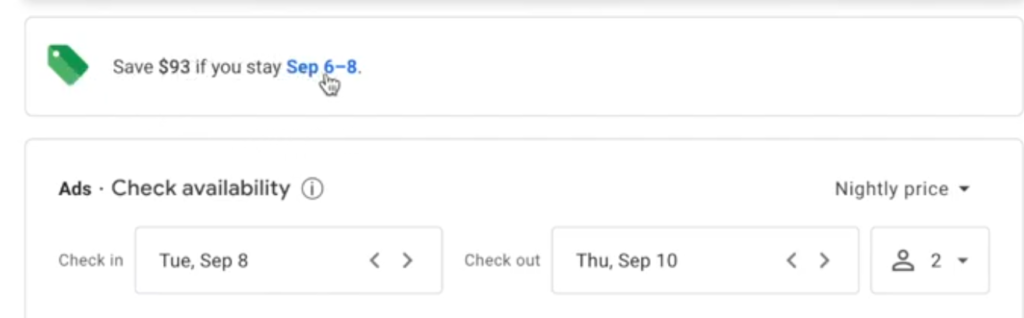 Save money on different dates with google flights