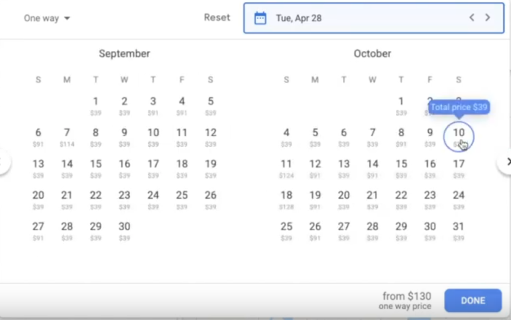 Google Flights calendar for travel date selection