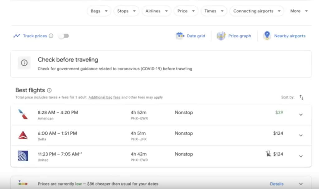Google Flights selection of flights for Oct 10