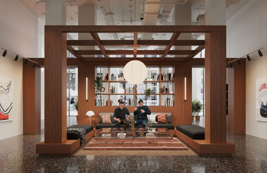 Photo of people collaborating at WeWork location in Milan, Italy.