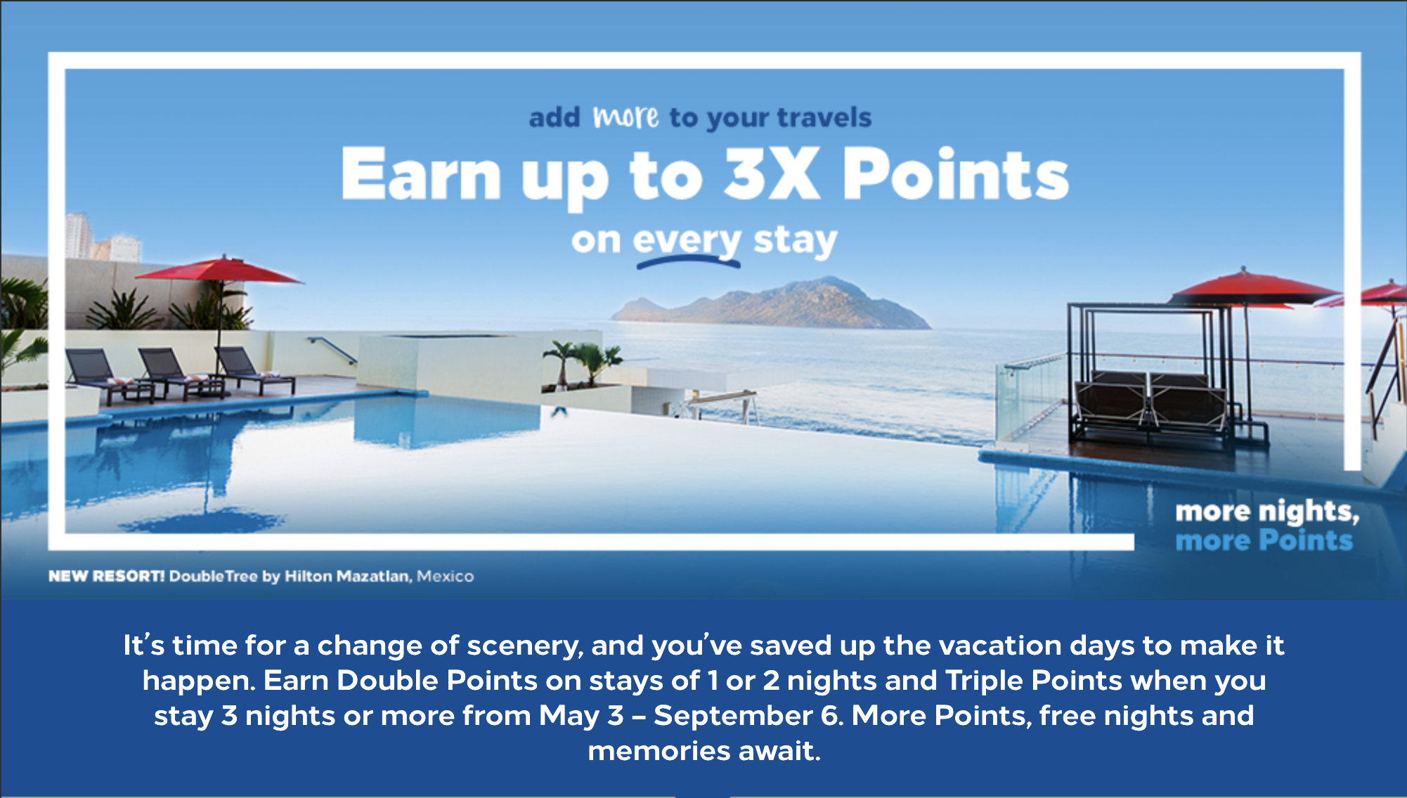 Earn up to triple points Hilton Honors promotions